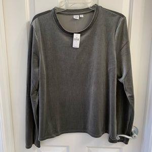 Gap Long Sleeve Velvet Top Size XL